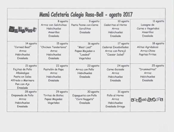 Calendario Cafeteria, agosto 2017